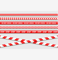 realistic red barricade tape police warning line vector image