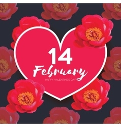 Red Peony Flowers Heart frame 14 february Happy vector