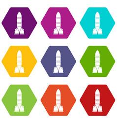 rocket icon set color hexahedron vector image