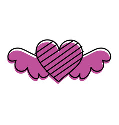Romantic winged heart with stripes symbolising vector
