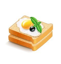Scrambled eggs on toasts isolated vector image