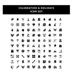 set celebration and holidays icon with glyph vector image