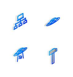 Set isometric line ufo flying spaceship computer vector