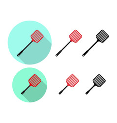 set of flyswatter icon in flat vector image