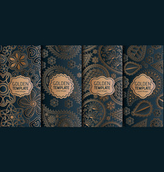 Set of golden luxury templates abstract geometric vector