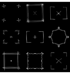 Set of nine square white doodle frames vector