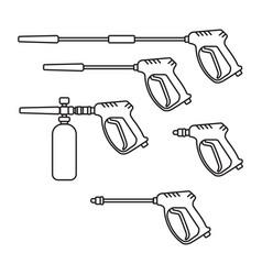set pressure washer machine electric vector image