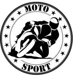 Sign of motorcycle racer on fast sportbike vector