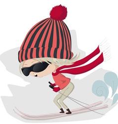 skiing girl vector image