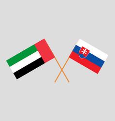 Slovakian and uae flags vector