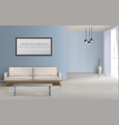 spacious living room realistic background vector image