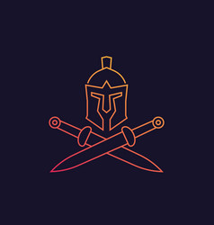 Spartan logo with helmet and swords vector