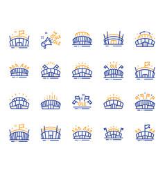 sports stadium line icons ole chant arena vector image