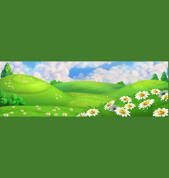 Spring background green meadow with daisies vector
