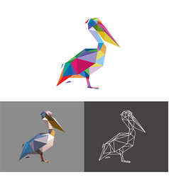 stork low poly vector image