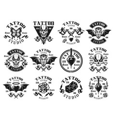 Tattoo studio big set of vintage emblems vector