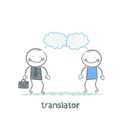 translator speaks with a businessman vector image