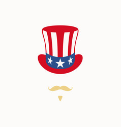 uncle sam hat on white background cylinder usa fla vector image