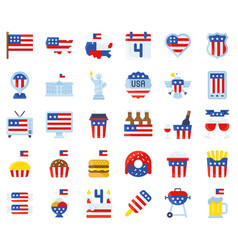 United state independence day flat icon set vector
