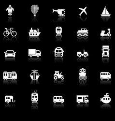 vehicle icons with reflect on black background vector image