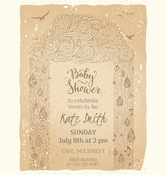 vintage baby shower template vector image