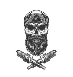 vintage bearded and mustached biker skull vector image