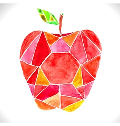 Watercolor beautiful mosaic red apple vector