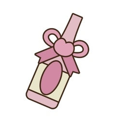 wedding bottle wine pink heart vector image