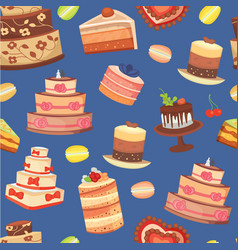 wedding cakes seamless pattern sweet baked vector image