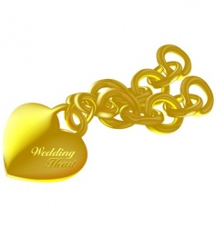 wedding heart gold vector image