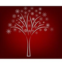 White snow tree on red background vector image