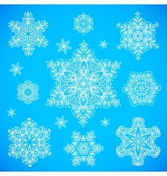 White snowflakes set on blue background vector image