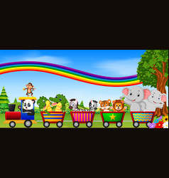 Wild animal on the train with rainbow vector