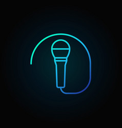 Wired microphone blue icon or symbol in thin line vector