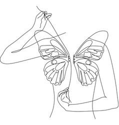 Woman butterfly line art line art print vector