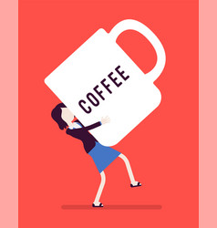 Woman carrying a giant coffee mug vector