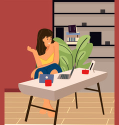woman with laptop cartoon female resting or vector image