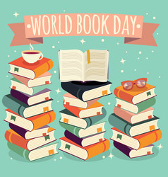 World book day open book on stack of books vector