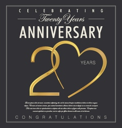 20 years Anniversary black background vector image