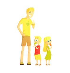 dad and twin son and daughter eating ice-cream vector image vector image