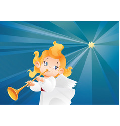 kid angel musician flying on a night sky makin vector image vector image