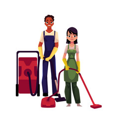 cleaning service workers man woman in overalls vector image