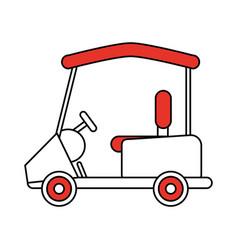 Color silhouette cartoon golf cart vehicle vector