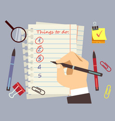flat to do list page and stationery vector image vector image