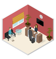 interior office or hotel reception isometric view vector image vector image