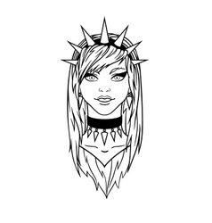 Stylish subcultural young girl with spiked bezel vector image vector image