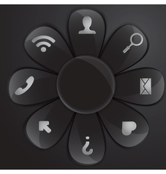 black glass daisy for buttons and interface vector image