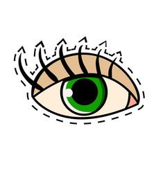 female green eye with long eyelashes comic vector image