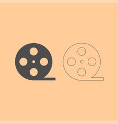 film strip dark grey set icon vector image vector image