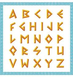 Greek font Golden bevel stick style letters vector image vector image
